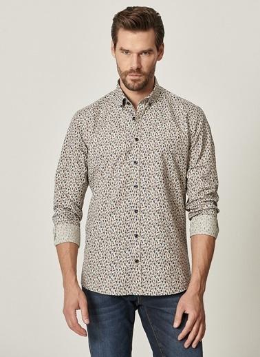 AC&Co / Altınyıldız Classics Tailored Slim Fit Düğmeli Yaka Baskılı Gömlek 4A2021100073 Haki